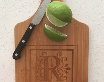 Bamboo  Monogram Cutting Board, Custom Lettering, Choice of Six Styles, Wedding, Engagement, Housewarming, Shower, Hostess, Any Occasion