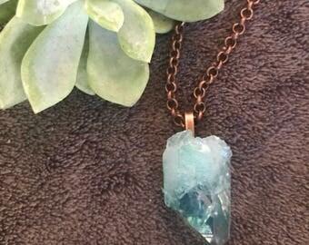 Aqua Aura Quartz Necklace 1