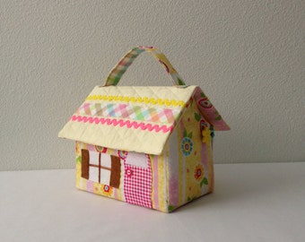Rainbow Color Fabric Dollhouse Purse/Carry Along Dollhouse/Travel Dollhouse/Portable Dollhouse