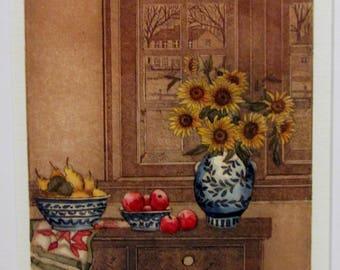 Sarah RISHEL Colored Intaglio Etching SEPTEMBER MORNING Framed Signed 116/150