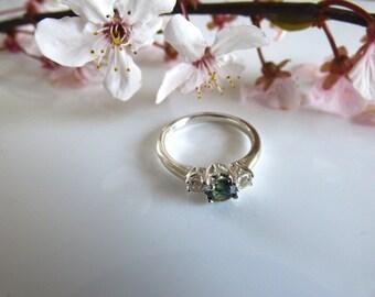 Blue Sapphire Rings / Saphire Rings/ Dichroic Sapphire/Sterling Silver Ring/ Green/Blue Australian Sapphire/Blue Sapphire/WhiteTopaz.  JS343