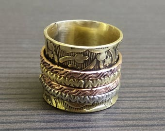 Ethnic brass jewelry ring | Hand crafted metal ring | Fusion gift ring | tribal ring | Stylish thumb ring | Indian women's brass ring | R8