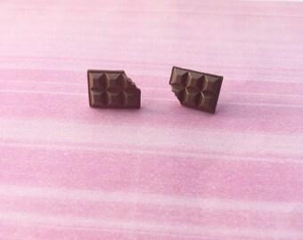 Chocolate bar earrings, miniature food jewelry, chocolate jewelry/ candy earrings, fake food jewelry
