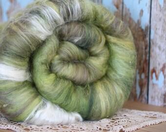 Forest Morning-Hand carded art batt, merino, mohair and mulberry Silk, 4.6 oz, For Spinning Weaving Felting and Fiber Art.