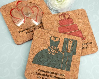 Wedding Favor Coasters, Personalized Square Wedding Cork Coasters - Set of 4