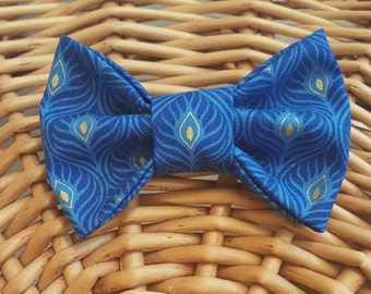 Blue & Gold Feather Bow