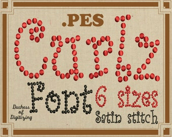 Curlz embroidery font, PES Format, Curly embroidery font,  curlz dots, embroidery file, PES File