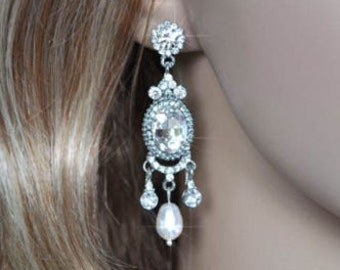 CLEARANCE Handmade Crystal Rhinestone & Pearl Chandelier Dangle Bridal Earrings, Bridal, Wedding (Pearl-130)
