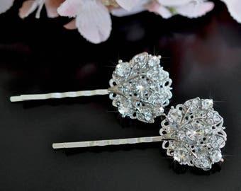 Set of 2 Beautiful Handmade Vintage Inspired Crystal Rhinestone Hair Pins, Bridal, Wedding (Sparkle-2441)