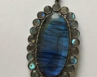 Pave diamond labrorite sterling silver pendant