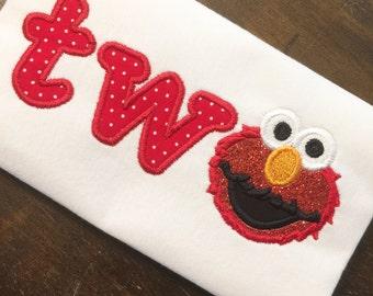 Elmo Birthday Shirt // Elmo Second Birthday Shirt // Girl Birthday Shirt // Monogrammed Birthday Shirt // Elmo 2nd Second Birthday