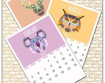 Commercial Use, Calendar 2017, Printable Calendar A4, Monthly Calendar, Wall Calendar, Digital Calendar, 2017 calendar yearly, Desk calendar