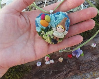 Gnome pendant, gnome necklace, necklace with gnome pendant, cameo gnome, miniature gnome, toys gnome, gnome with balloons.