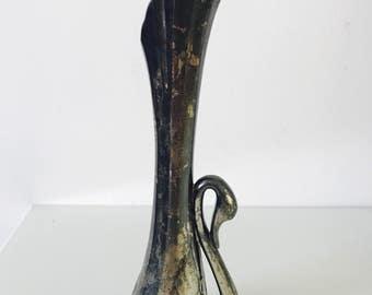 Vintage 1970's Nouveau Swan Silver Played Bud Vase