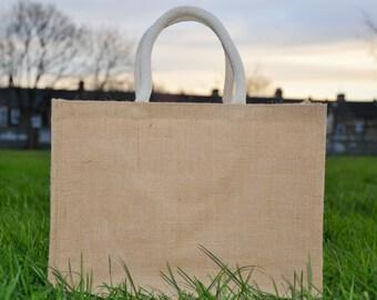 Medium Jute Hessian Shopping Bag with Luxury Padded Handles with Free Shipping/UK Stock/Best Quality