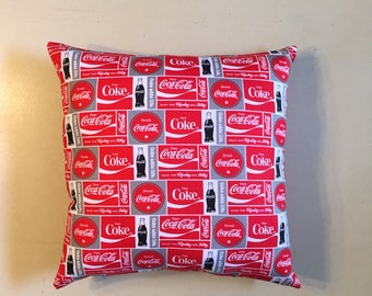 "Coca-Cola Coke soda pop 15""x 15"" Red Gray Patchwork Throw pillow, collectible, decorative pillow, gift, home decor, official fabric"