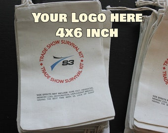 200 Your Logo Here - Custom logo muslin cotton drawstring bags - Company promotions, Business logos, your own design, full color 4x6 inch