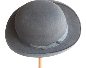 Vintage English Made Bowler Hat // French Retailed // Bowler Hat // Derby Hat // Steam Punk Size 7 //