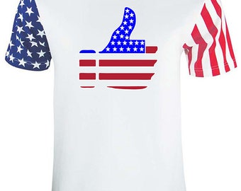 4th Of July Adult Stars And Strips Thumb Up USA Flag Tee Shirt White Star Strips T-Shirt