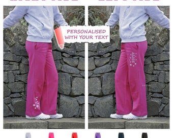 Personalised girls sweatpants with glittery stars and name