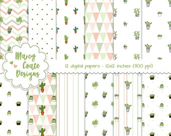 Cactus digital papers set of 12 backgrounds, 12x12 inch, cacti, chevrons, terracotta pots, polka dots, triangles, stripes, commercial use OK
