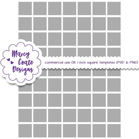 """Inchies template, 1"""" squares, PSD, PNG, commercial use, collage sheet template, jewelry making, scrapbooking, ATC cards, instant download"""