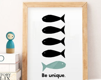 Nursery print unique, fish nursery prints, quotes Wall Art, Kids Print, black Nursery Print, Instant Download, Playroom Decor, Nursery Quote