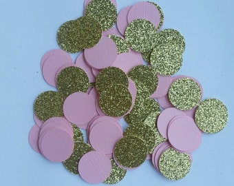 Gold and pink confetti.