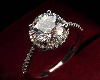 1.25 CT Engagement Ring,  925 Sterling Silver Ring, Cubic Zirconia Wedding Ring, Round Halo Promise Ring, (ring1004)