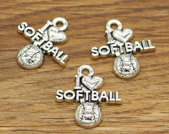 20pcs I love Softball Charms Team Sports Charms Antique Silver Tone 20x21mm cf2080