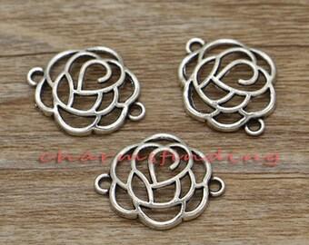 20pcs Flower Connectors Charms Floral Charms Antique Silver Tone 19x24mm cf1388