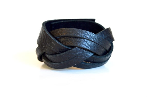 Wide Braided Leather Cuff:  Genuine Leather True Black Magic Braided Leather Bracelet