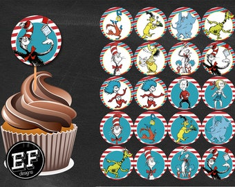 20 Dr Seuss cupcake toppers. Dr. Seuss, Cat in the Hat, Dr. Seuss party, Dr Suess birthday, INSTANT DOWNLOAD