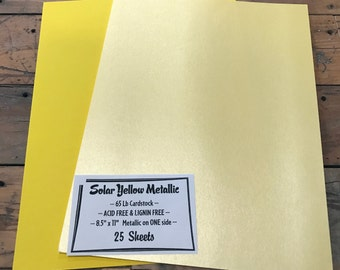 Solar YELLOW Metallic TWO SIDED Cardstock 65 lb Paper 8.5 x 11 25 sheets