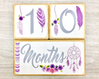 Baby Age Blocks - Baby Milestone Blocks - Boho Chic - Girl- Monthly Weekly Yearly Blocks - Bohemian Nursery Decor- Floral - Dream Catcher