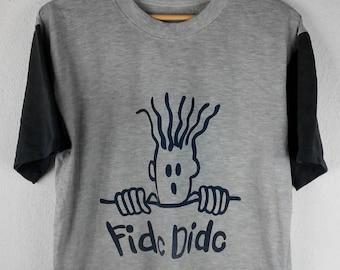 RARE!!! Fido Dido Cartoon Big Logo Crew Neck Grey Colour T-Shirts M Size