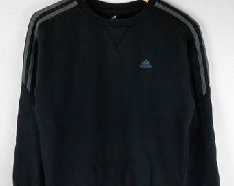 RARE!!! Adidas Equipment Small Logo Embroidery 3 Stripes Crew Neck Black Colour Sweatshirts Hip Hop Swag S Size