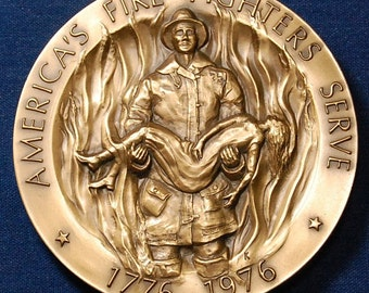 Fire Fighters Medal 75mm, 10 oz, Very Beautiful