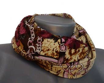 Handmade scarf in muted fall colors with roses from Jersey, art. No. 8014