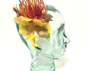 Yellow vanda orchid, needle protea tiki tropical flower hair clip with seashells tiki oasis