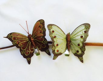 Sparkly brown and sparkly green butterfly hair clips-sold as set