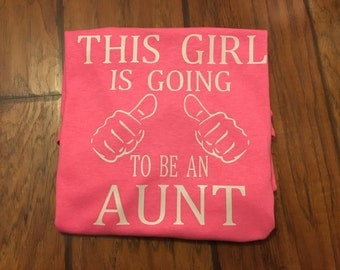 Ready to ship, going to be an aunt, thumbs up, pink shirt, christmas present, aunt gift, aunt shirt, gifts for aunts, auntie, christmas gift