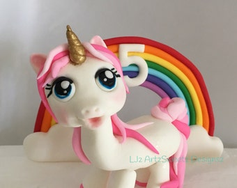 Unicorn and Rainbow Combo with or without Age on Rainbow Colour Chooses Available