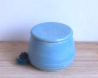French Butter Crock. Blue butter keeper. Ceramic butter dish. Pottery butter dish. Handmade unique butter holder.