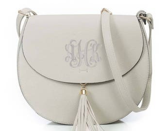 Monogram Cross Body tassel hipster tribal personalized bag in Taupe