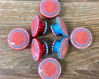 1.5 red and blue cabinet knobs, drawer pulls, white polka dots, teal, polka dots, red