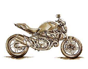DUCATI MONSTER Original Painting Motorcycle Art Home Decor Motorcycle Wall Art
