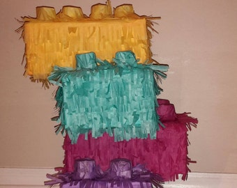 4 stacked up Lego Bricks Piñata or LEGO FRIENDS. Handmade. New
