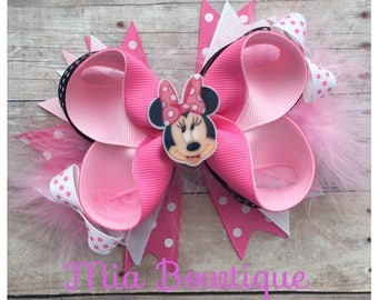Pink Minnie Hair Bow, Minnie Mouse Hair Bow, Pink Minnie Hair Bow, Minnie Mouse Birthday Party, Minnie First Birthday