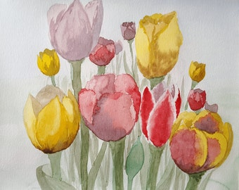 Tulips in Spring, Original Watercolor Painting